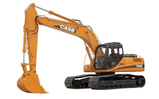 A yellow heavy equipment Case excavator