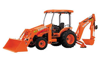 An orange Kubota loader backhoe