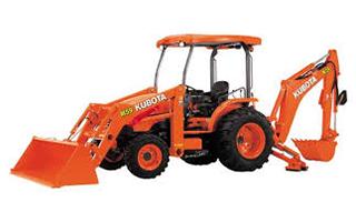 An orange Kubota loader backhoe