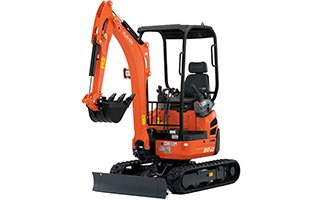 An orange Kubota mini excavator