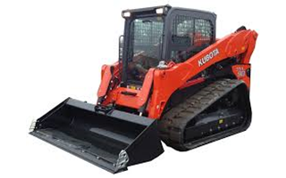 An orange Kubota track loader