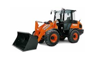 An orange Kubota wheel loader