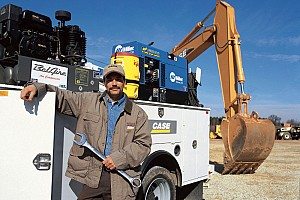 The Case service truck next to a Case excavator