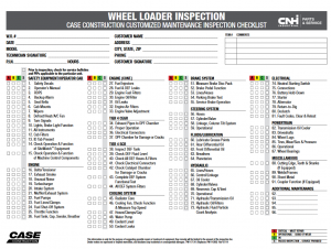 wheel loader inspection chart