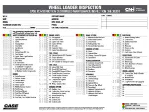 wheel loader inspection chart