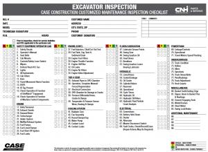 excavator inspection checklist