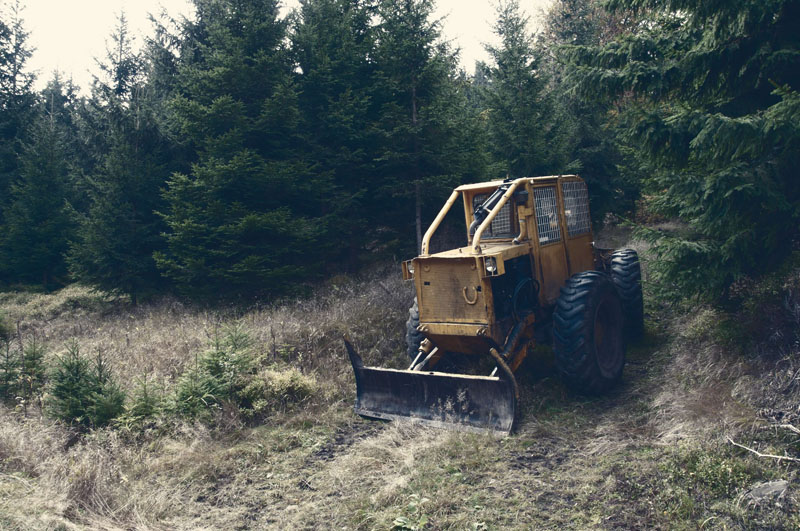 old tractor coming out of the woods