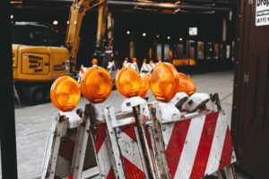 construction site with hazard signs